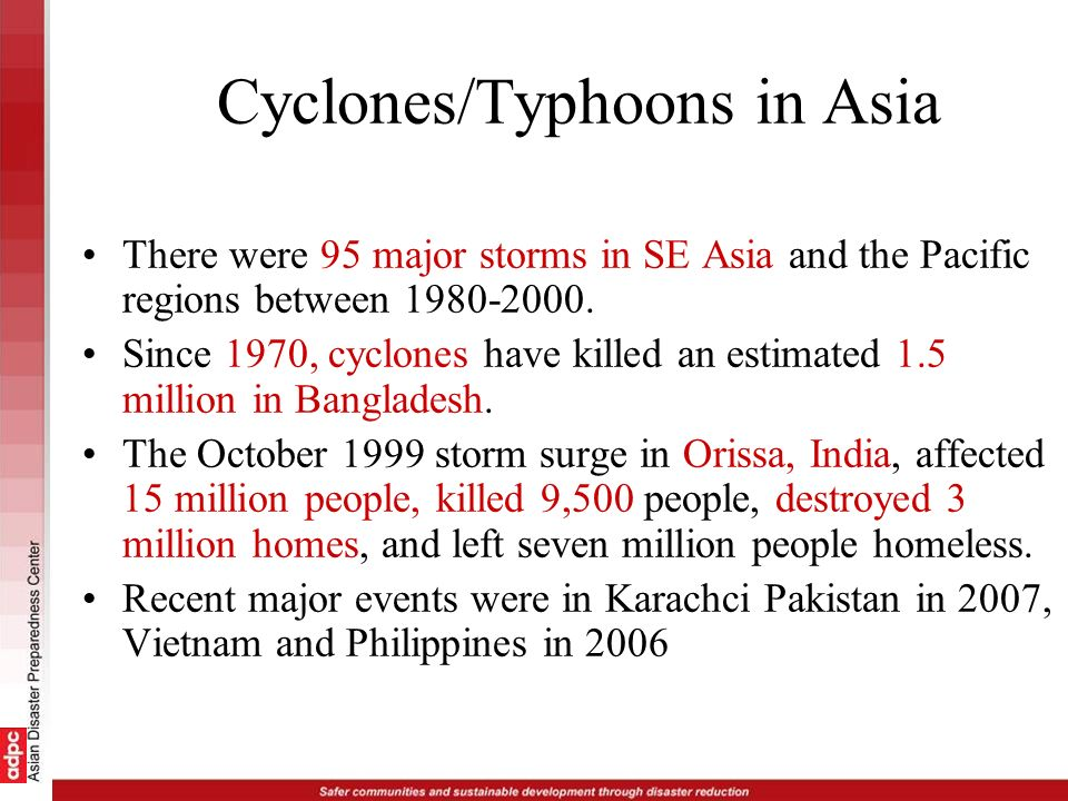 Cyclones/Typhoons in Asia