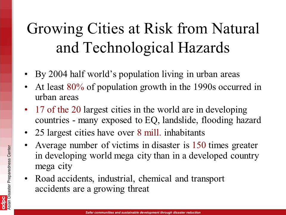 Growing Cities at Risk from Natural and Technological Hazards