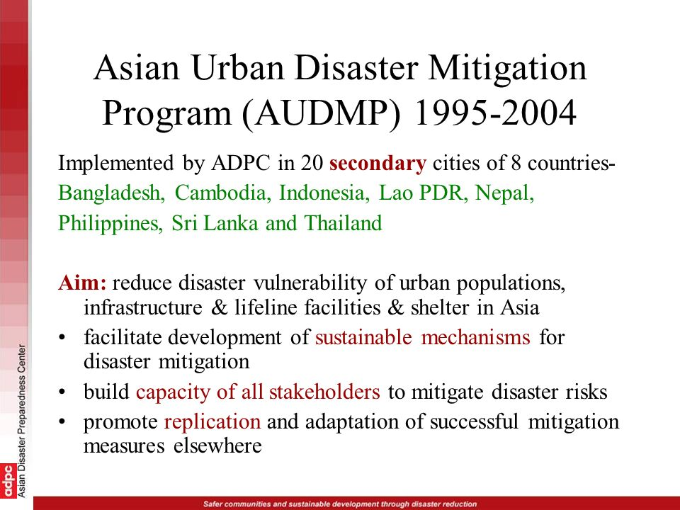 Asian Urban Disaster Mitigation Program (AUDMP) 1995-2004