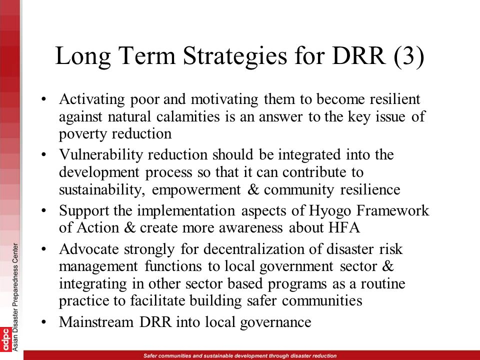 Long Term Strategies for DRR (3)