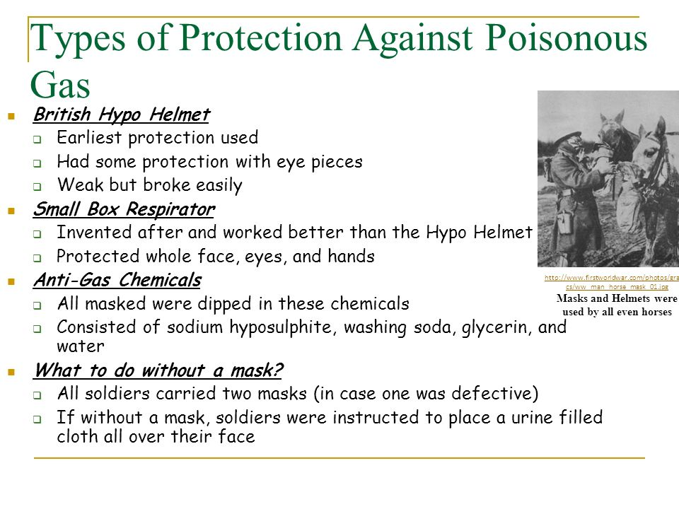 Types of Protection Against Poisonous Gas
