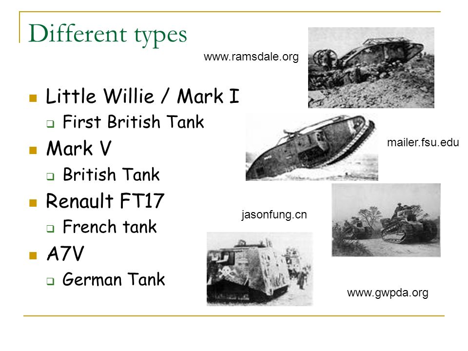 Different types Little Willie / Mark I Mark V Renault FT17 A7V
