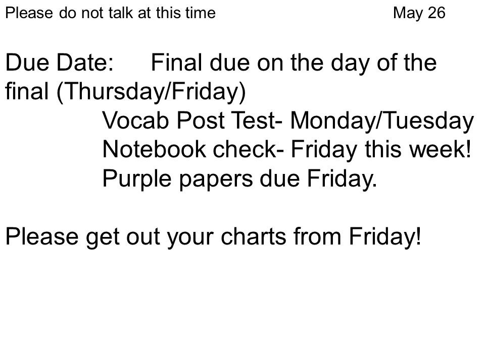 Due Date: Final due on the day of the final (Thursday/Friday)