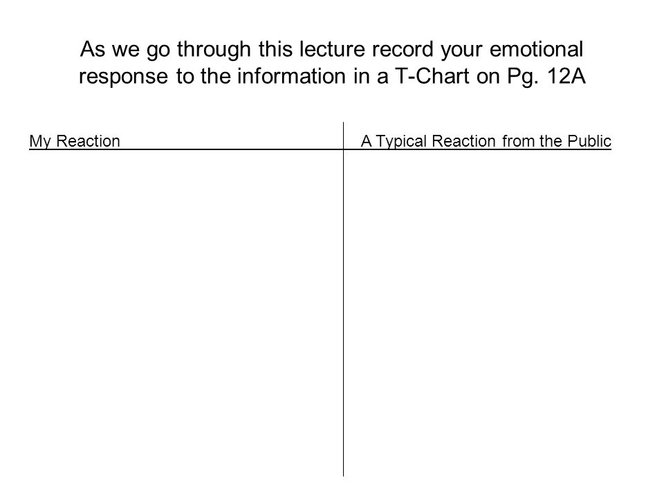 As we go through this lecture record your emotional response to the information in a T-Chart on Pg. 12A