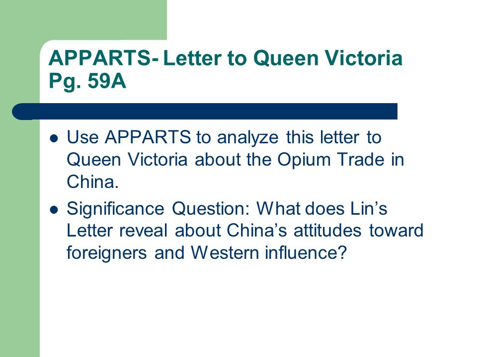 APPARTS- Letter to Queen Victoria Pg. 59A