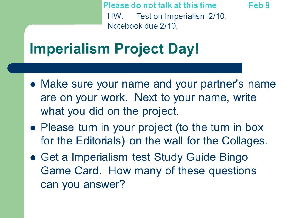 Imperialism Project Day!