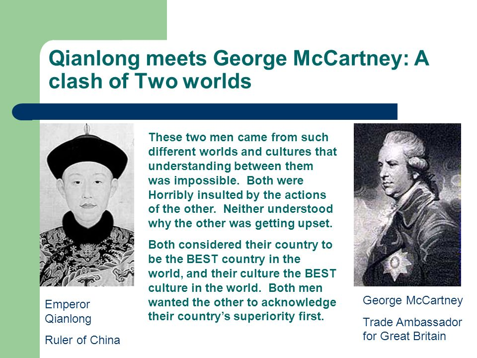 Qianlong meets George McCartney: A clash of Two worlds