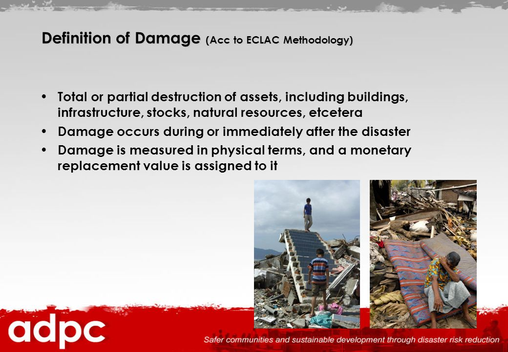 Definition of Damage (Acc to ECLAC Methodology)