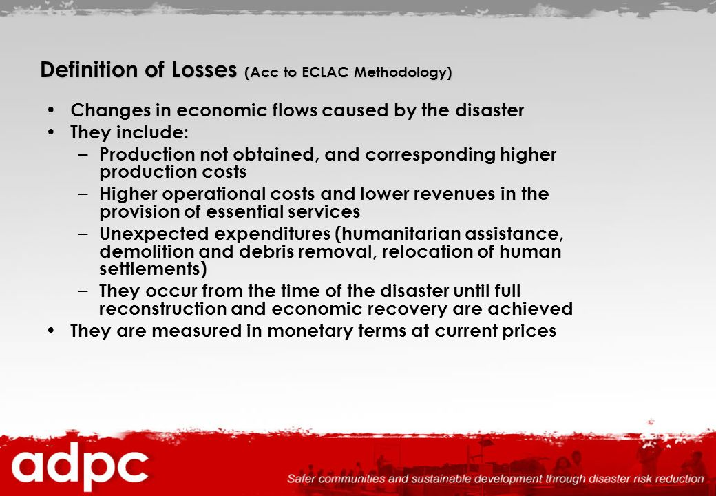 Definition of Losses (Acc to ECLAC Methodology)