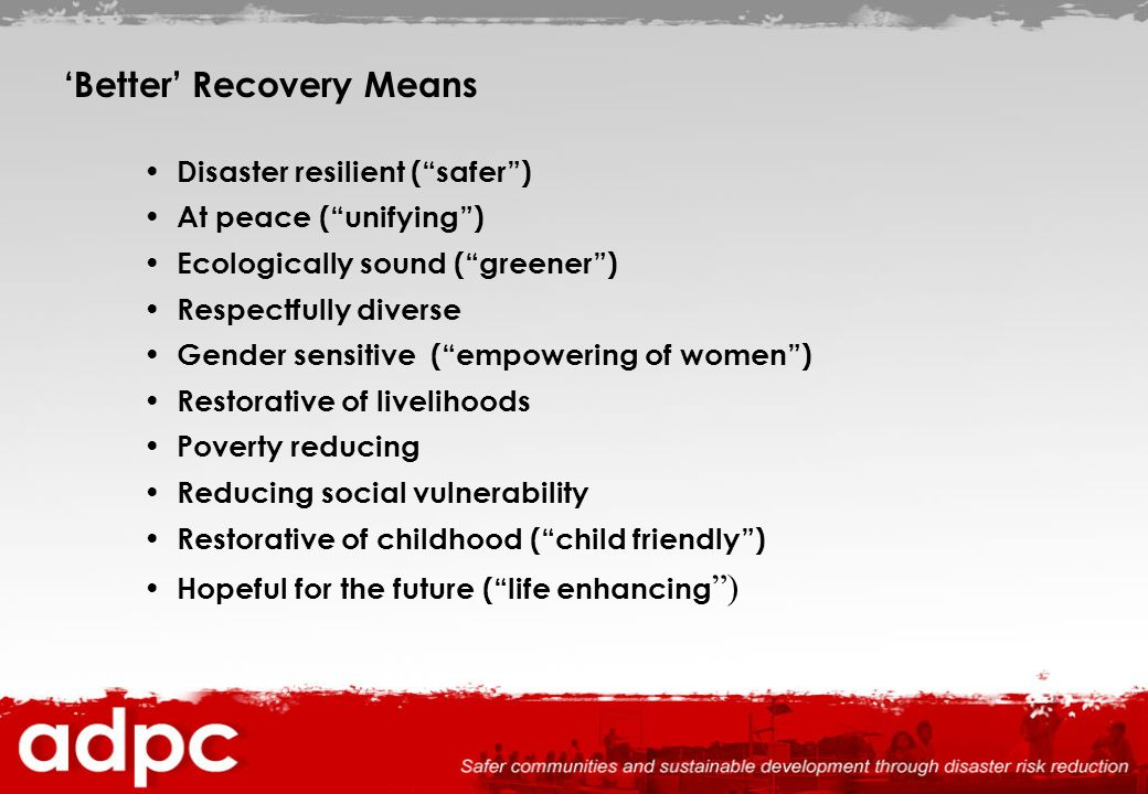 'Better' Recovery Means