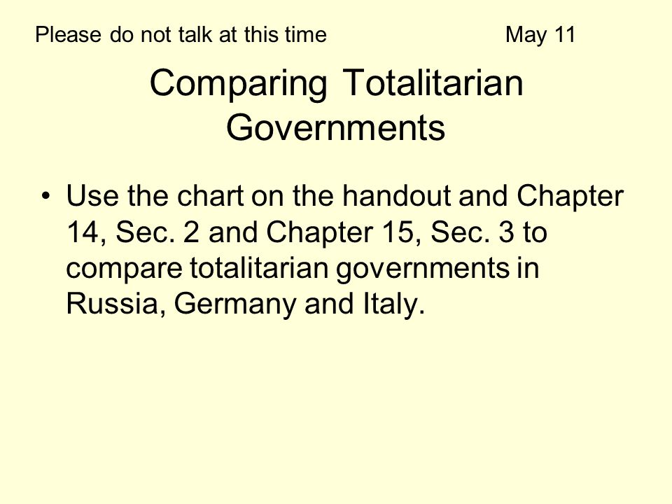 Comparing Totalitarian Governments