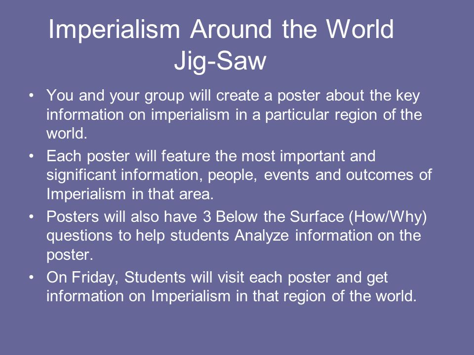 Imperialism Around the World Jig-Saw