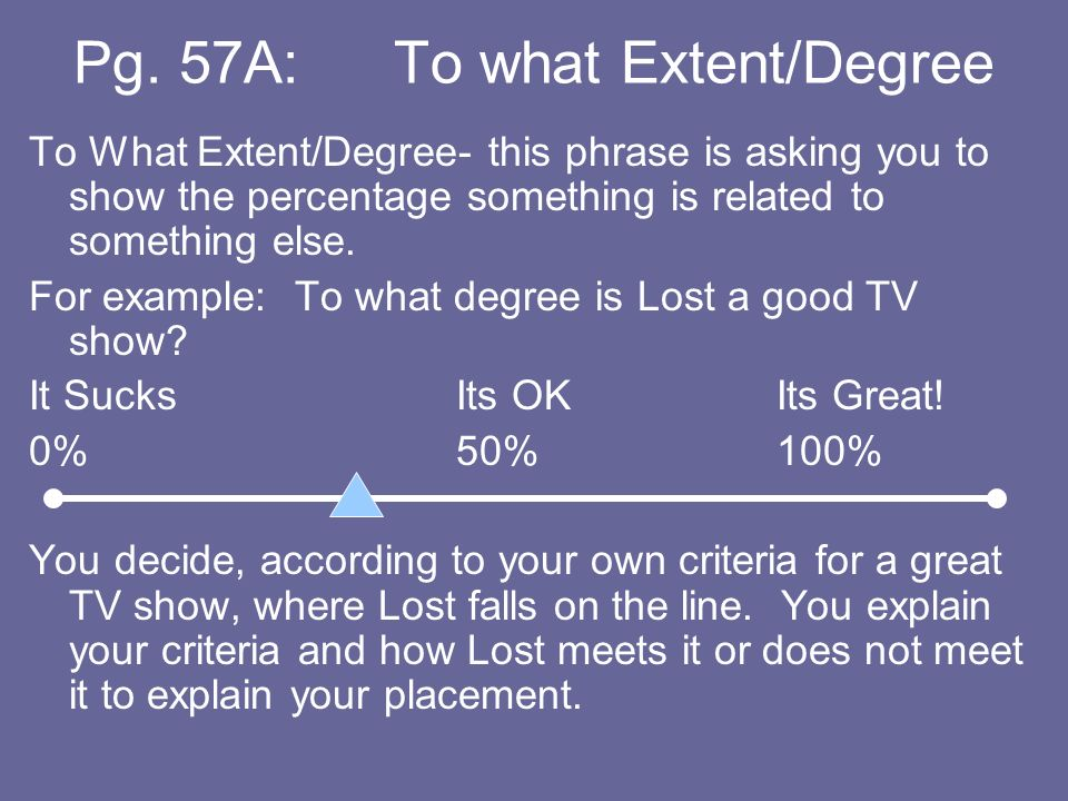 Pg. 57A: To what Extent/Degree