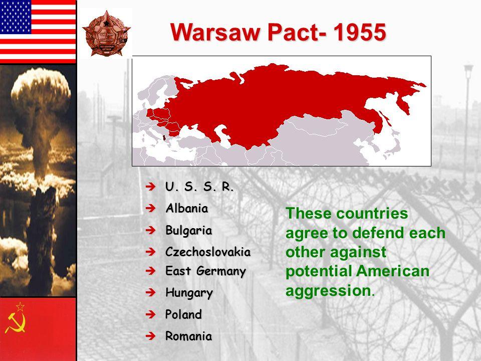Warsaw Pact- 1955 U. S. S. R. Albania. Bulgaria. Czechoslovakia.