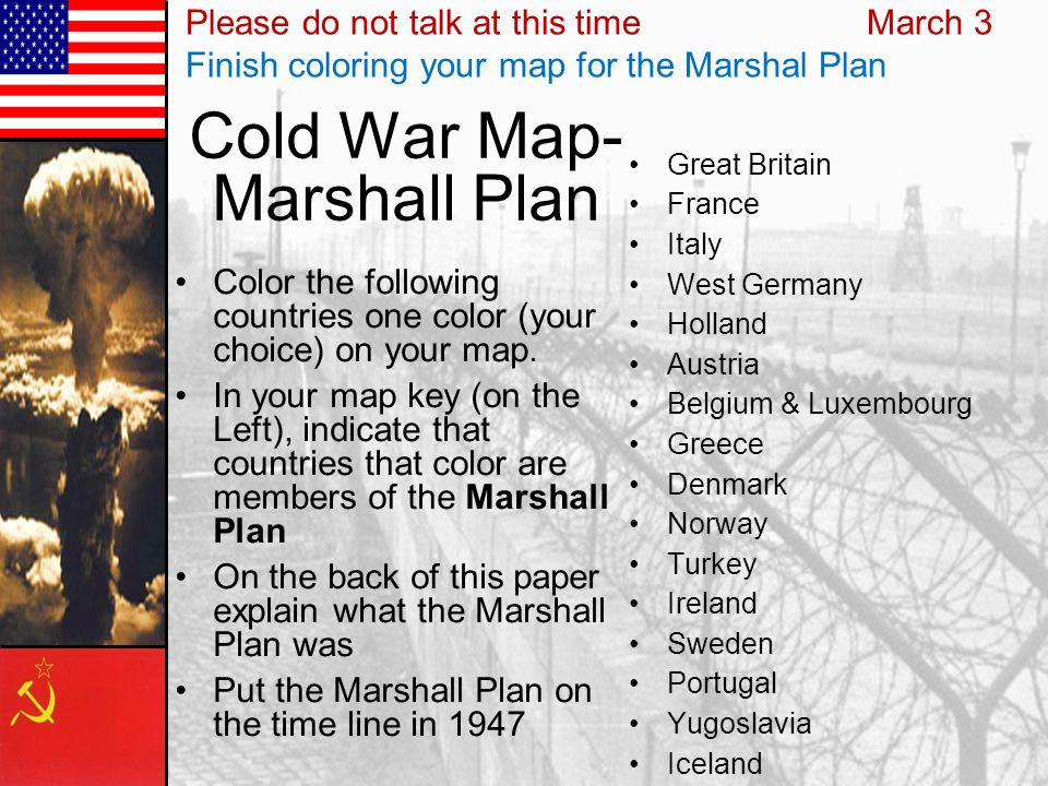 Cold War Map- Marshall Plan