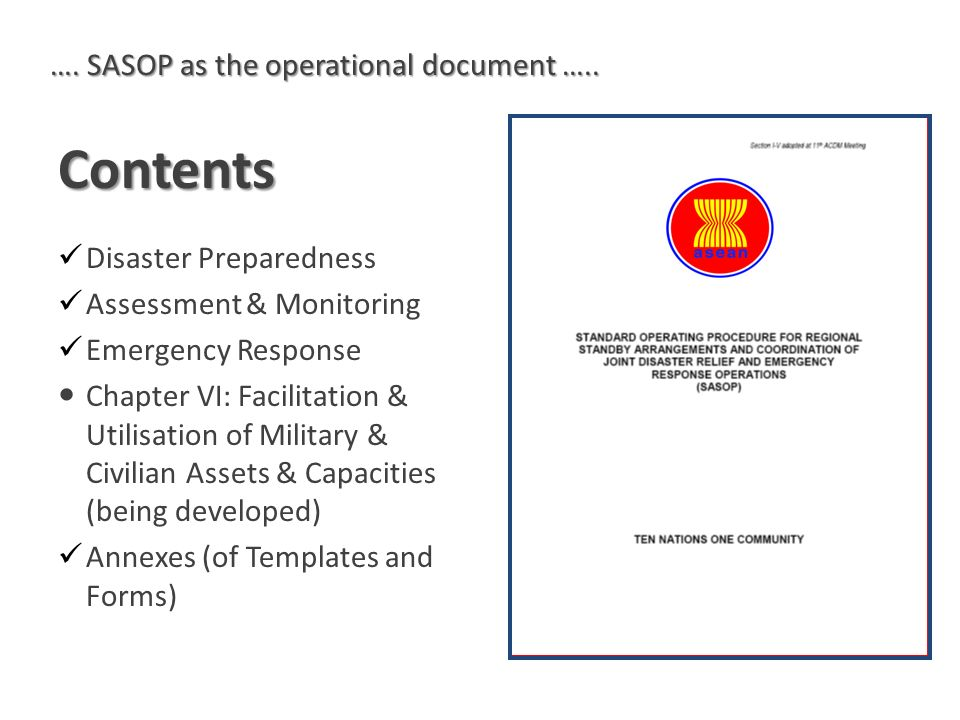 Contents …. SASOP as the operational document …..