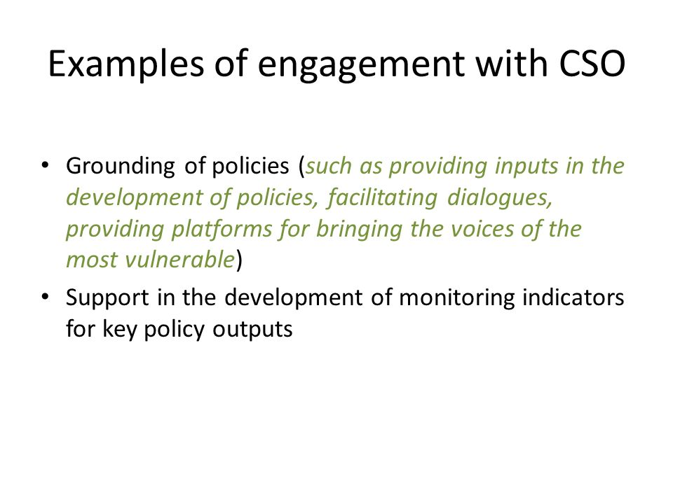 Examples of engagement with CSO