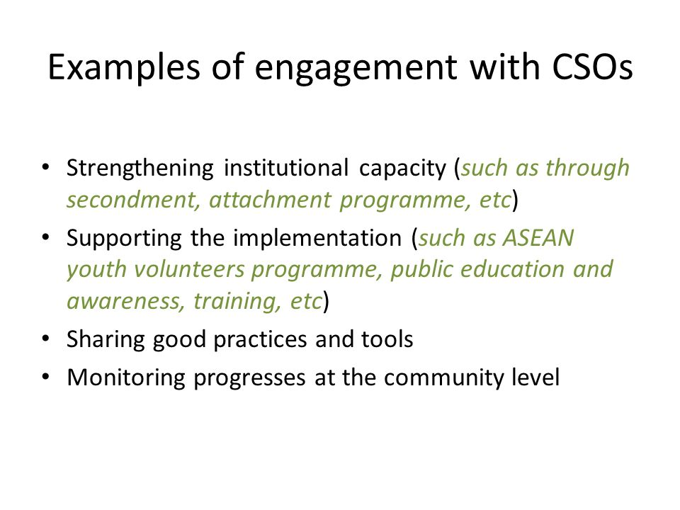 Examples of engagement with CSOs
