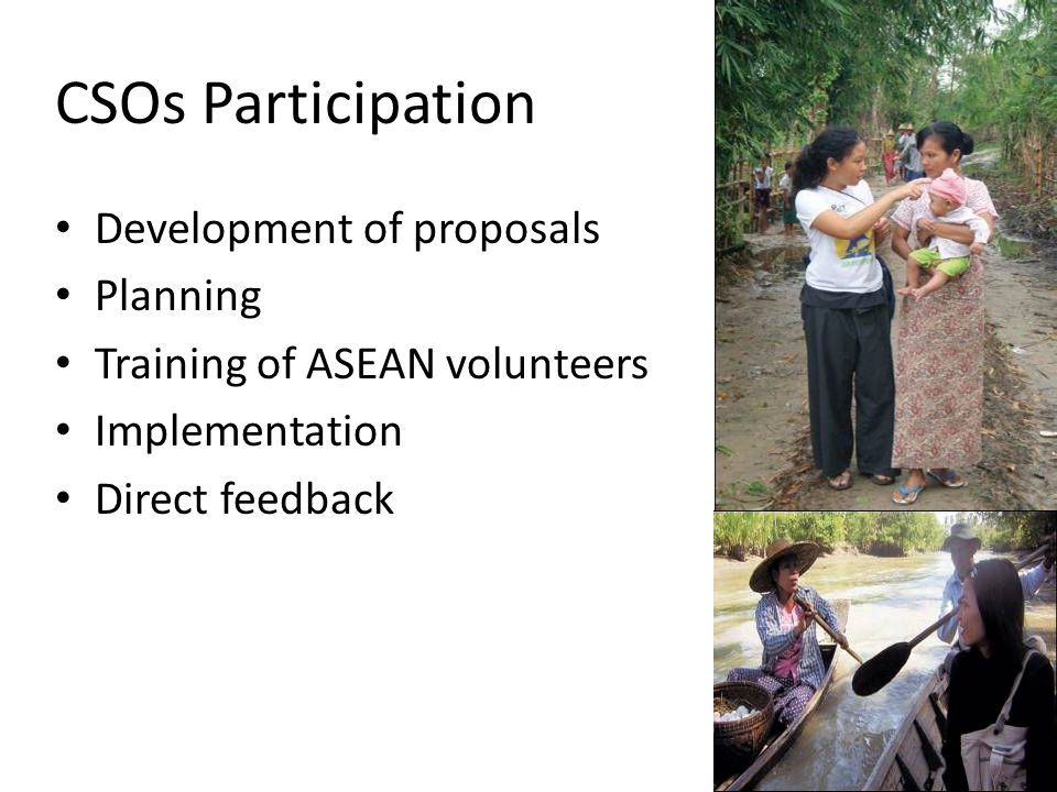 CSOs Participation Development of proposals Planning