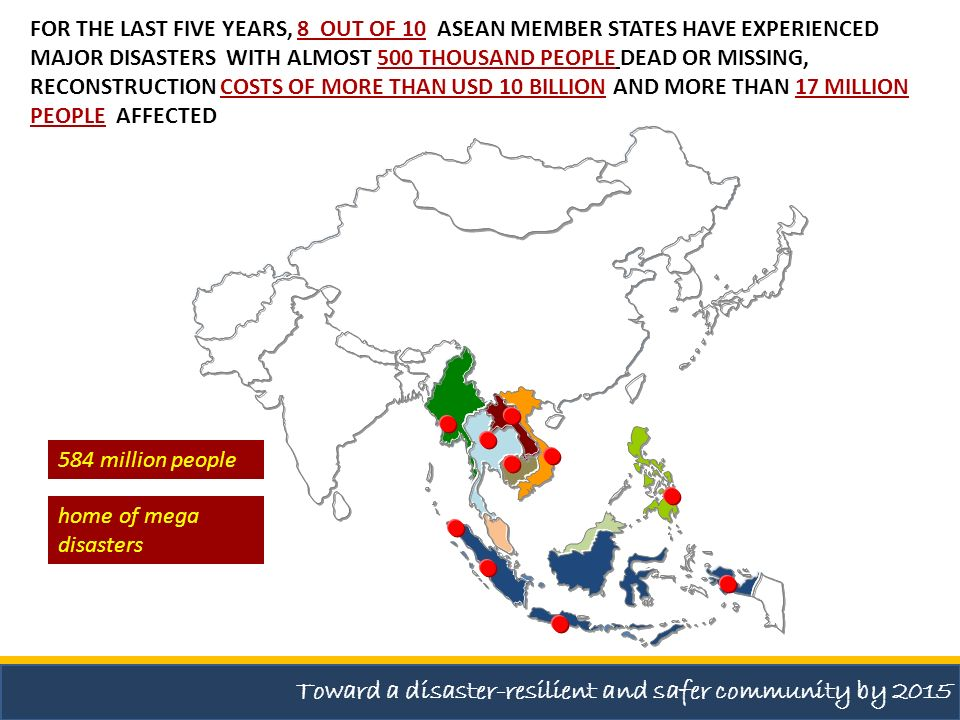 Toward a disaster-resilient and safer community by 2015