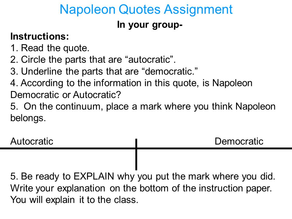 Napoleon Quotes Assignment
