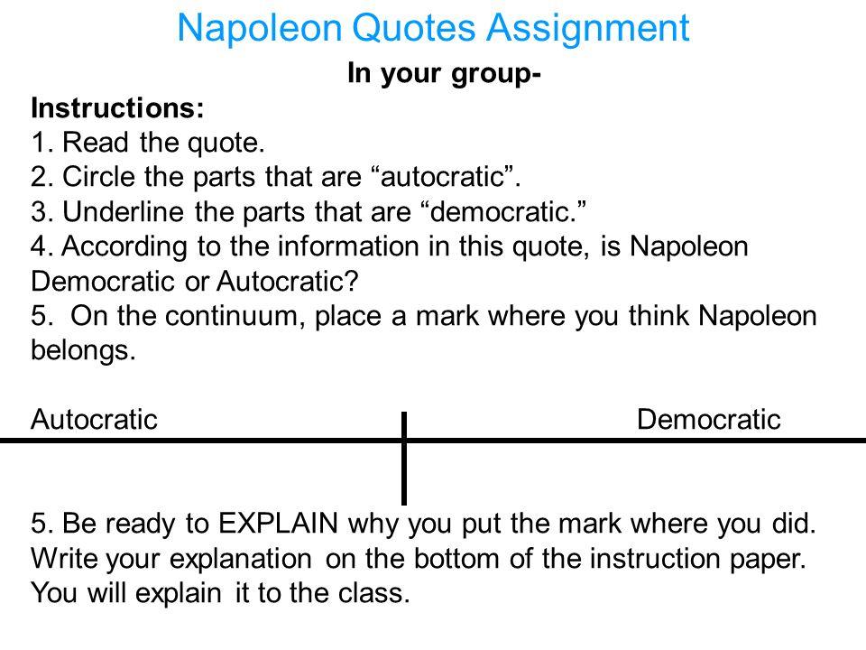 Napoleon Quotes Assignment