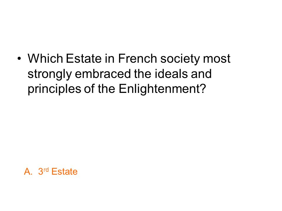 Which Estate in French society most strongly embraced the ideals and principles of the Enlightenment