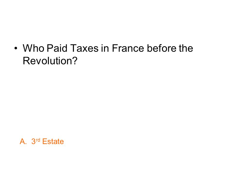 Who Paid Taxes in France before the Revolution