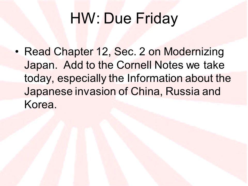 HW: Due Friday