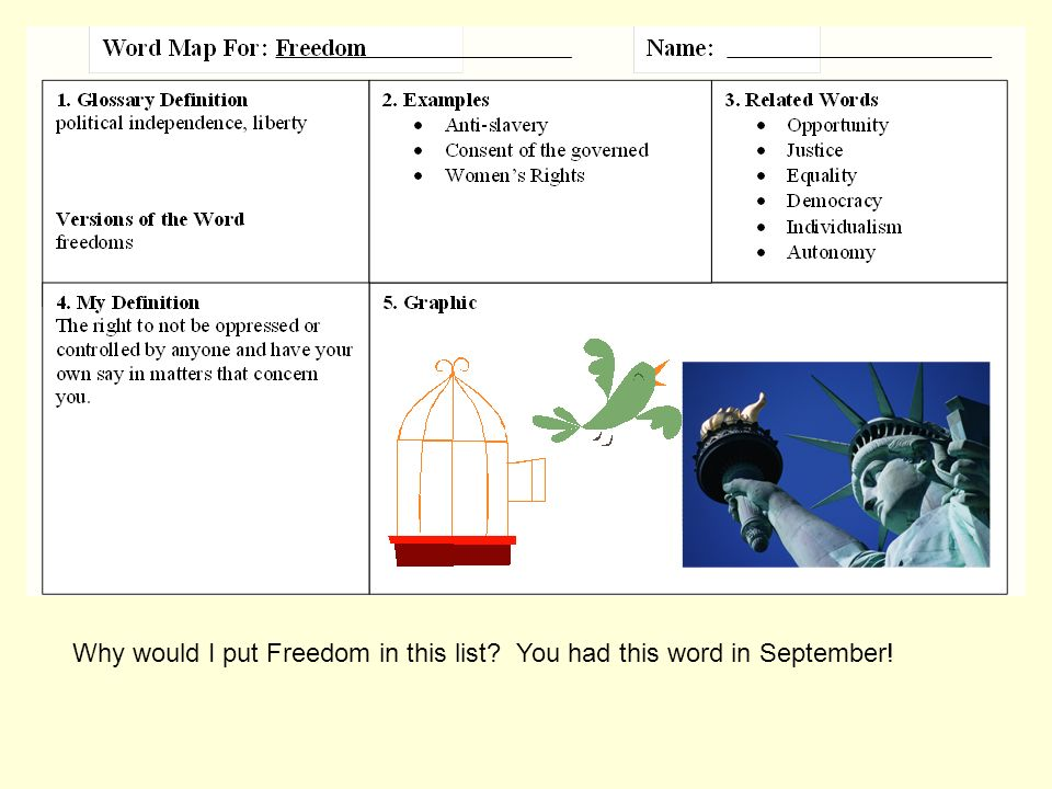 Why would I put Freedom in this list You had this word in September!