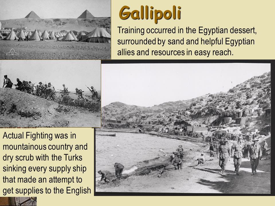 Gallipoli Training occurred in the Egyptian dessert, surrounded by sand and helpful Egyptian allies and resources in easy reach.
