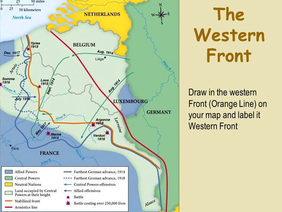 The Western Front Draw in the western Front (Orange Line) on your map and label it Western Front.