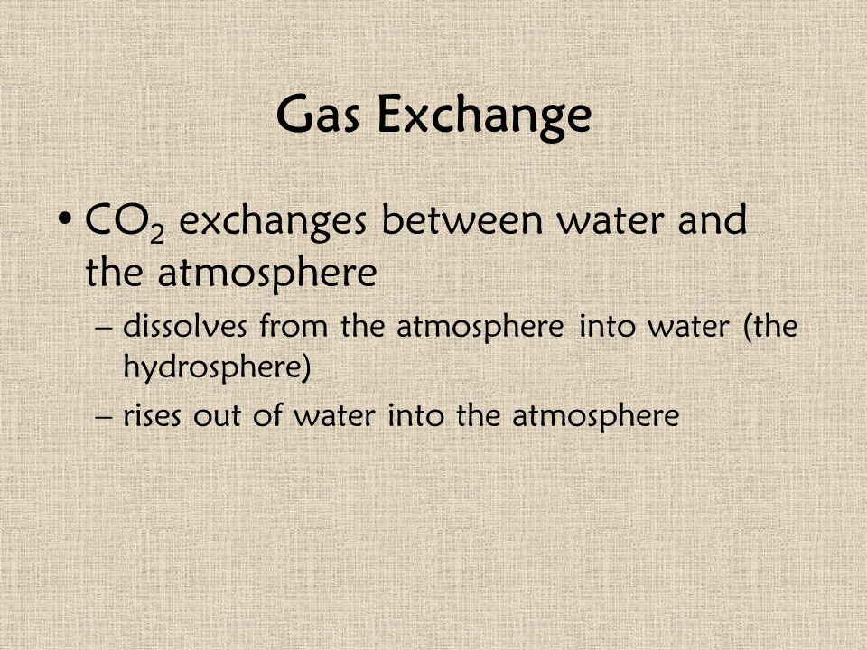 Gas Exchange CO2 exchanges between water and the atmosphere