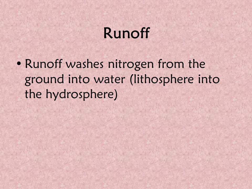 Runoff Runoff washes nitrogen from the ground into water (lithosphere into the hydrosphere)