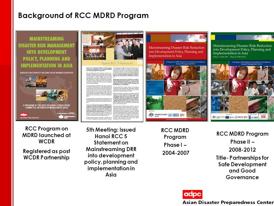 Background of RCC MDRD Program