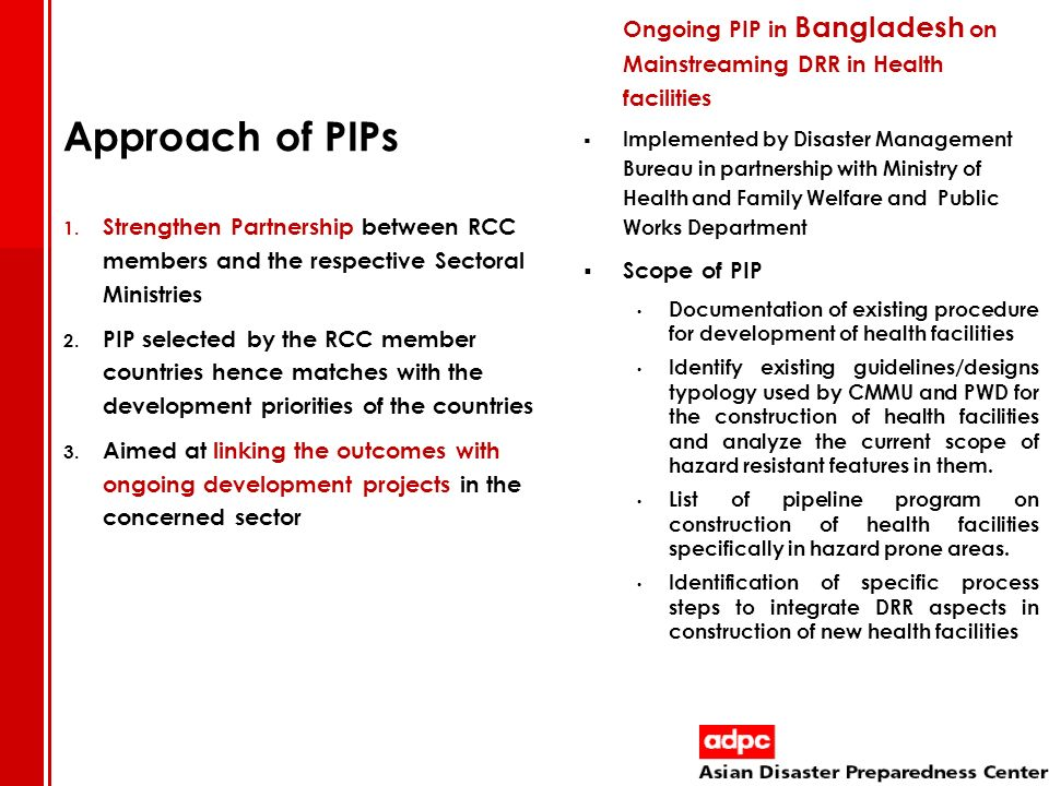 Ongoing PIP in Bangladesh on Mainstreaming DRR in Health facilities