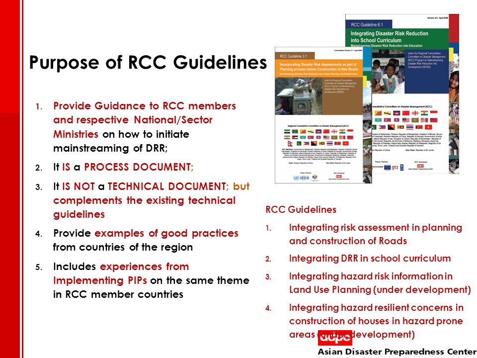 Purpose of RCC Guidelines