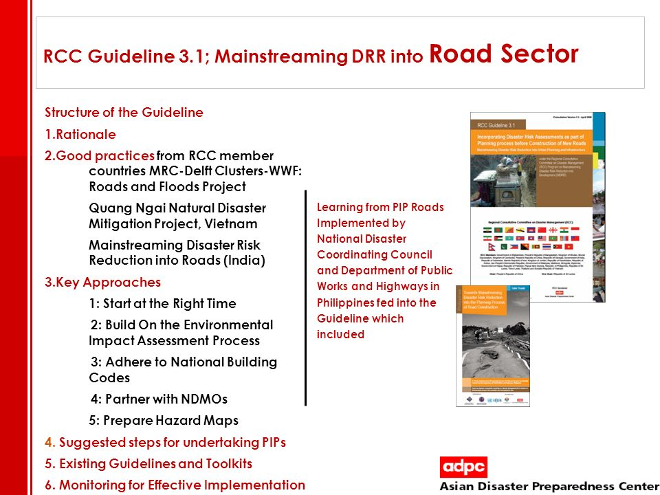 RCC Guideline 3.1; Mainstreaming DRR into Road Sector