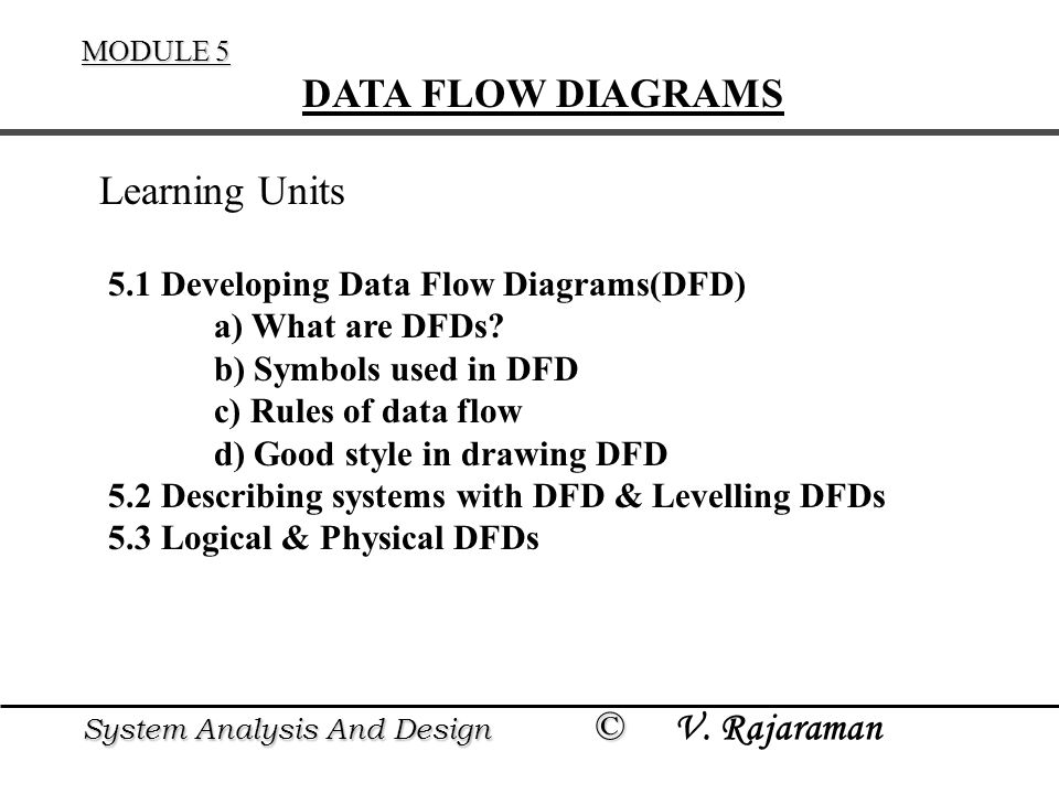 DATA FLOW DIAGRAMS Learning Units