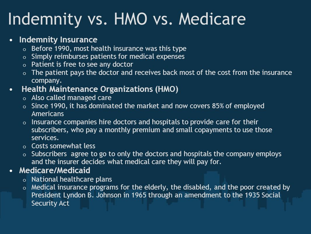 Indemnity vs. HMO vs. Medicare