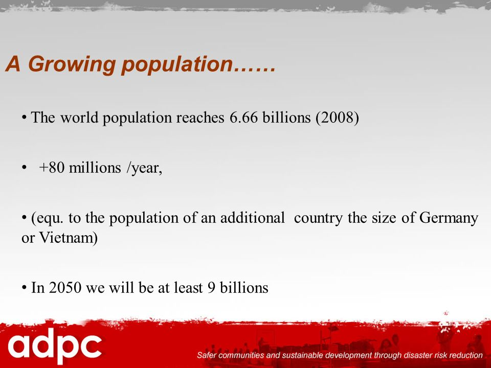 A Growing population……