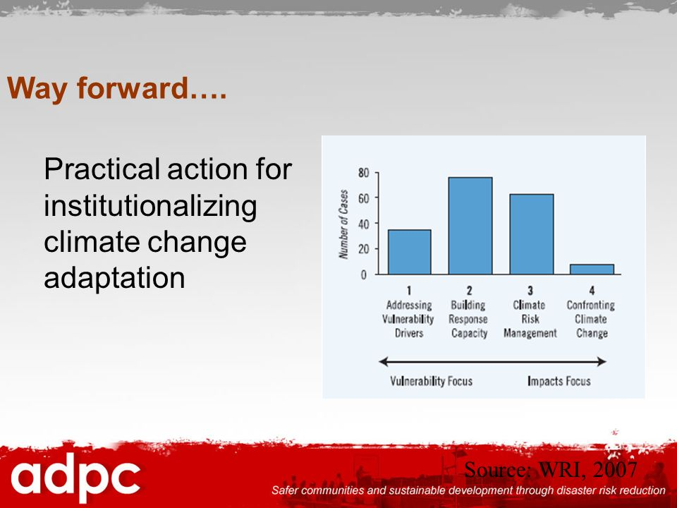 Practical action for institutionalizing climate change adaptation