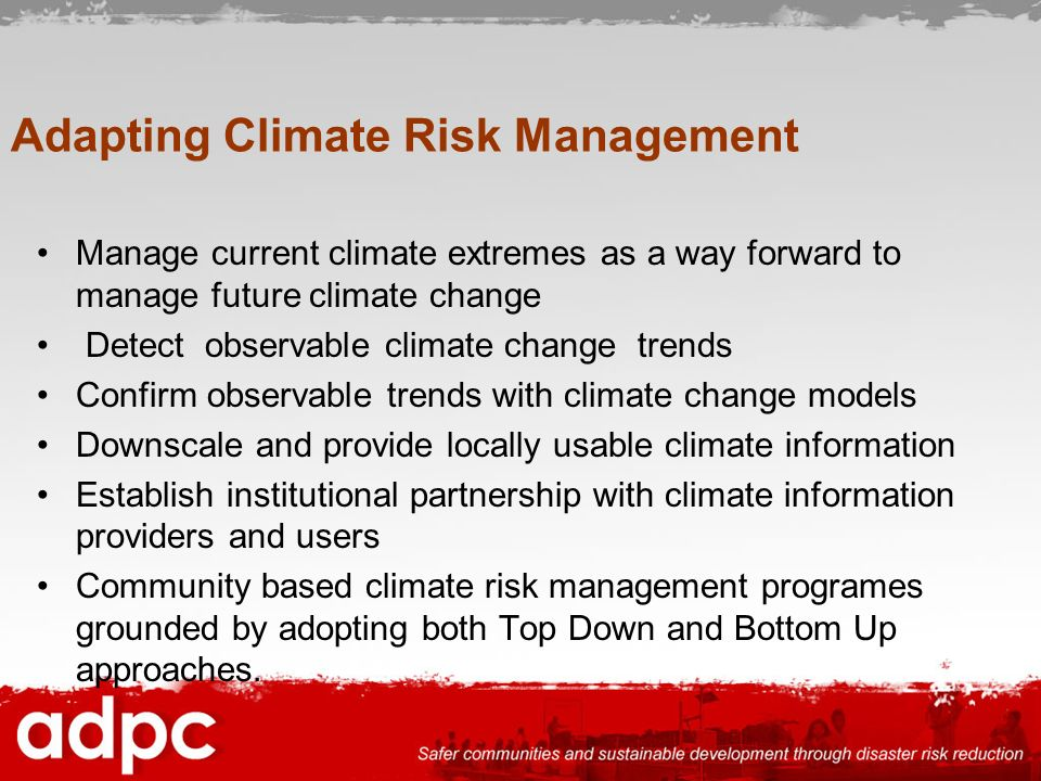 Adapting Climate Risk Management