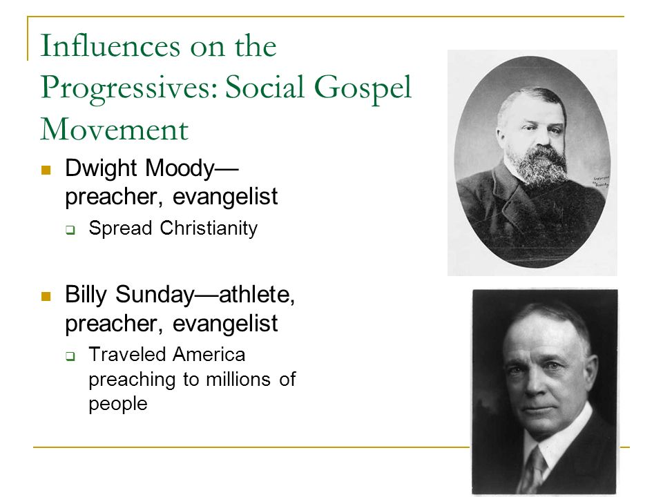 Influences on the Progressives: Social Gospel Movement