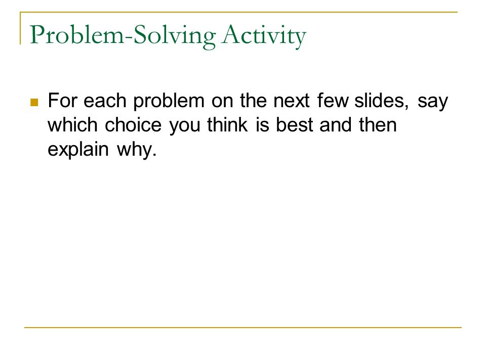 Problem-Solving Activity