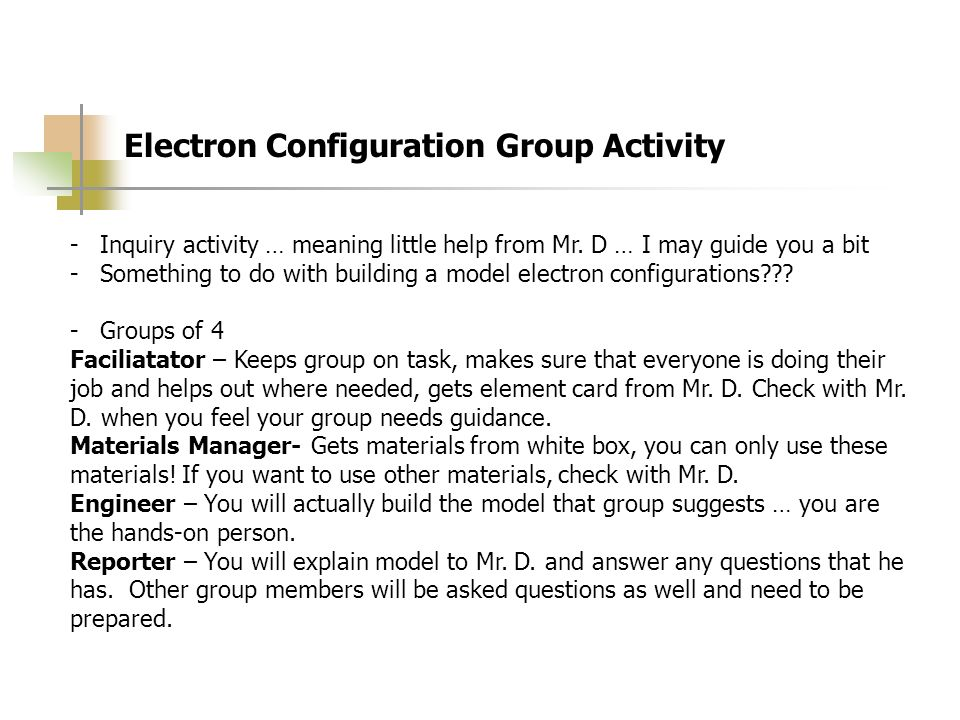 Electron Configuration Group Activity