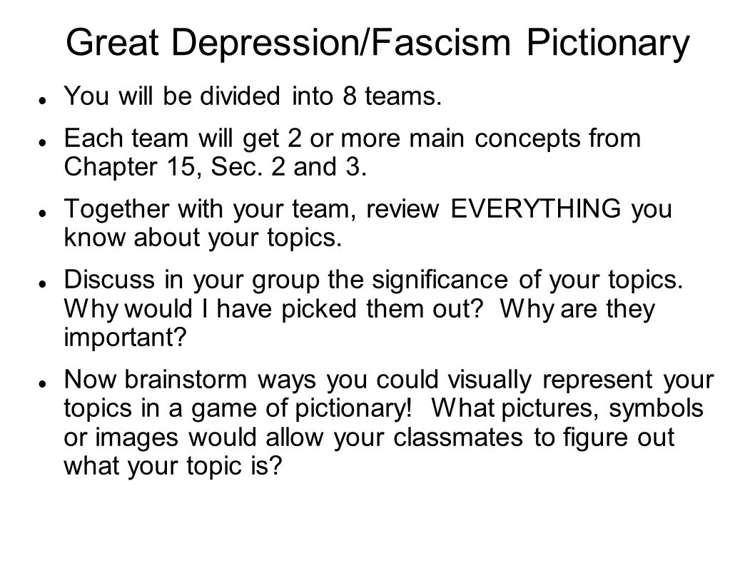 Great Depression/Fascism Pictionary