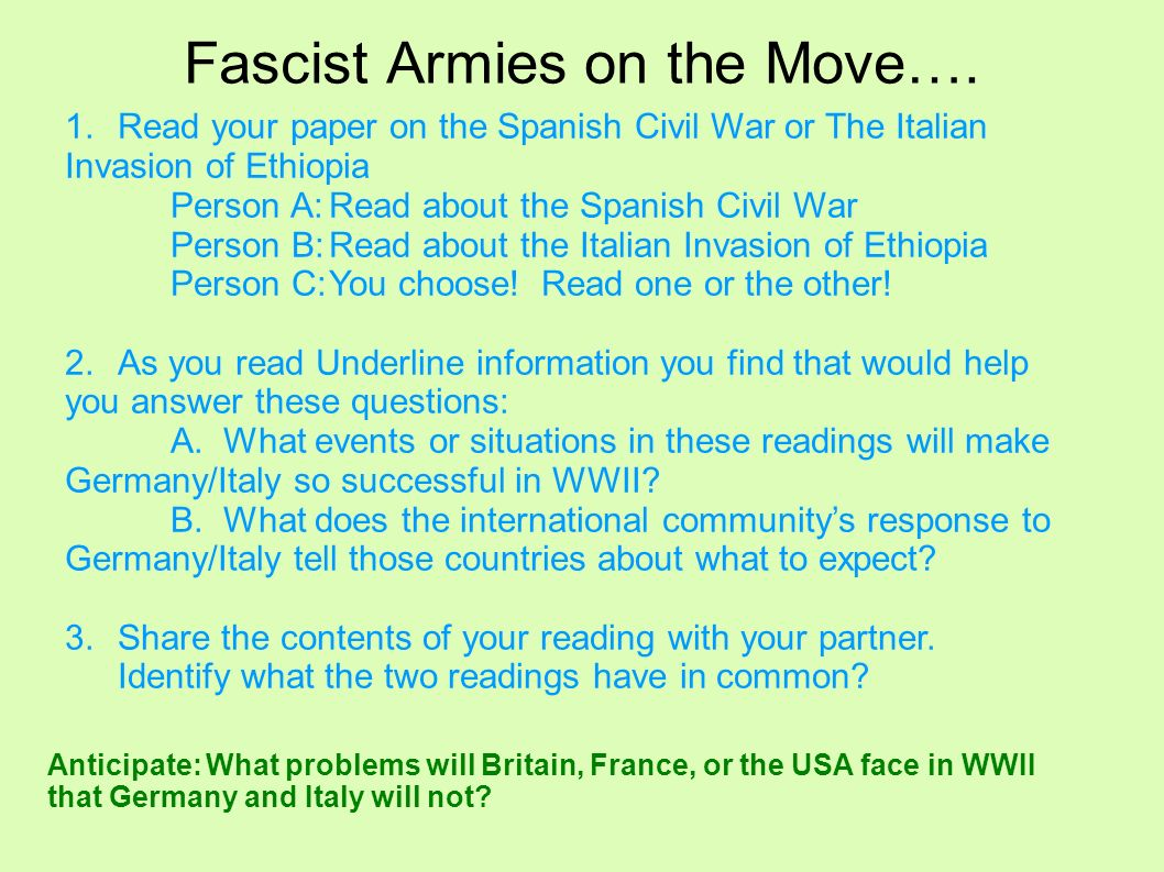 Fascist Armies on the Move….