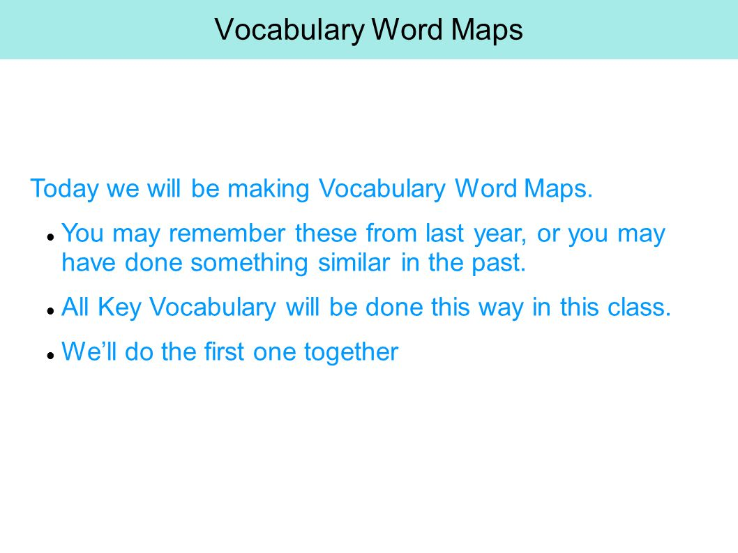 Vocabulary Word Maps Today we will be making Vocabulary Word Maps.