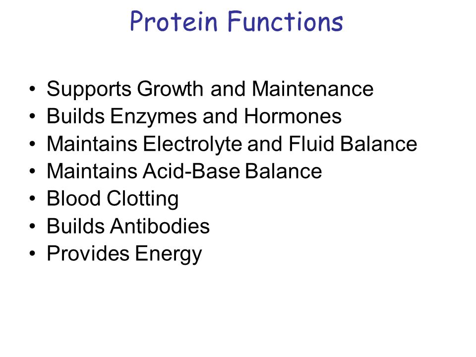 Protein Functions Supports Growth and Maintenance